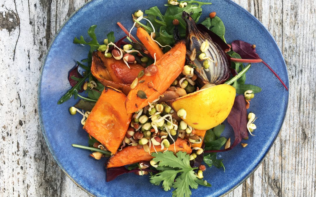 Moroccan inspired Roast vegetable and super seed salad with sprouted lentils